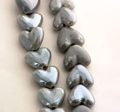 5 SILVER GREY Ceramic Porcelain Heart Shaped Beads  by SmartParts, $2.99