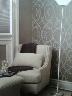 Wall stencil and chair