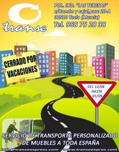 Transe en Yecla ,empresa  de servicio de transporte de muebles a toda #España, te informa que estarán de vacaciones desde el día 12 de agosto hasta el 1 de septiembre ambos inclusive !!! FELICES VACACIONES DE VERANO AMIGOS !!!