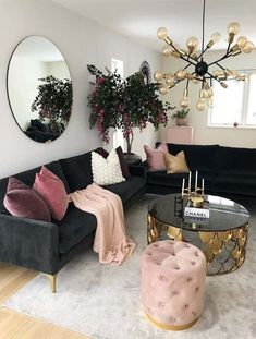 Modern Interior Design Ideas for Living Room to Copy in 2019 Transform your home's look into best ever interior designs that we have presented here just for you. Every who is searching for latest home decor designs, they must see here for amazing interior Pink Home Decor, Retro Home Decor, Living Room Inspiration, Home Decor Inspiration, Home Living Room, Living Room Designs, Bedroom Decor, Cozy Bedroom, Interior Design
