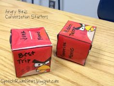 Angry Birds Conversation Starters-by Speech Room News. Pinned by SOS Inc. Resources.  Follow all our boards at http://pinterest.com/sostherapy  for therapy resources.