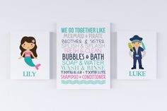 Mermaid and Pirate Bathroom CANVAS Wall Art CANVAS DETAILS: This is very high quality gallery wrapped canvas. The thickness of the canvas is inches. We use geniune OEM pigment inks to produce canvas prints. We do not use knock-off refill inks with ques