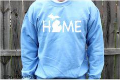 Michigan Home Sweatshirt State Home Mitten by RoyalMajesTees #michigan #home #sweatshirt #state #mitten #MI #blue #crewneck #shirt #giftsunder50 #giftsforhim #giftsforher #love #upper #lower #peninsula #handmade #etsy #etsylove #etsyfinds #clothes #clothing #mens #womens #apparel