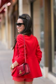 Fire engine red :: Crimson blazer & Celine box : Wendy's Lookbook (micheal kohrs sunglasses)