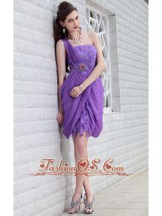fc2f667cd0 Purple Column One Shoulder Mini-length Chiffon Beading Prom   Homecoming  Dress-  115.89 www