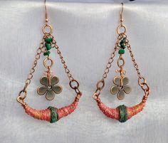 Bohemian earrings Tyvek mixed-media fiber art door LePetitPrins