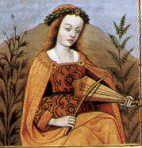 Merouda, a woman playing bowed psaltery