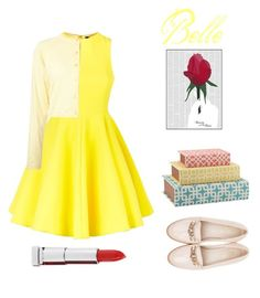 """""""Belle"""" by souz-zverey ❤ liked on Polyvore featuring AQ/AQ, Marni, Bombay, Spineless Classics, Maybelline, Beyond Skin, cute, outfit, yellow and dress"""