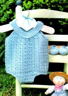 tejidos artesanales en crochet: bombachudo y esparpines en celeste para bebe (3 a ...