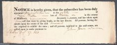 Original 1831 Appointment of Administrator Estate of  Ezra Feske , Weston , Mass
