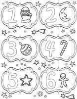 Advent Calendar pages Adult coloring page From 1st till 6 December