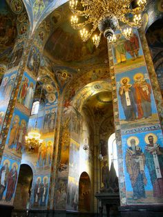 Interior of the Church on Spilled Blood, St. Petersburg, Russia.