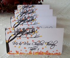 fall leaves + tree escort cards- loveeee these, we all know how i am obsessed with trees!