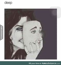 Image uploaded by Zara Degamo. Find images and videos about smile, sad and cry on We Heart It - the app to get lost in what you love. Sad Drawings, Art Drawings Sketches, Drawing Feelings, Smile Drawing, Bd Art, Mask Drawing, Deep Art, Sad Pictures, Poses References