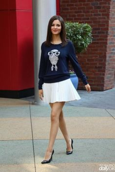 Victoria Justice wearing Stuart Weitzman Power Pumps in Black and French Connection Geeky Owl Knit Sweater