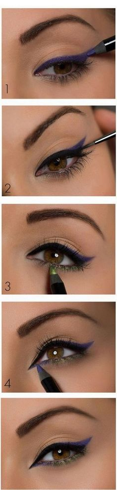 Colourful eyeliner make-up look tutorial. Observe this along with your favourite make-up merchandise. - Get your favourite make-up on the lowest costs at www. Makeup Goals, Love Makeup, Makeup Hacks, Makeup Ideas, Green Makeup, Simple Makeup, Black Makeup, Makeup Geek, Hair Hacks