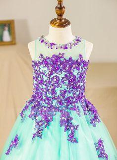 Ball Gown Scoop Neck Floor-length Beading Appliques Tulle Sleeveless Flower Girl Dress (Petticoat NOT included) Flower Girl Dress