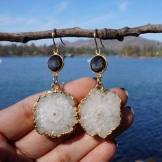 One-of-a-Kind #Stalactite #SolarQuartz #Earrings with #SmokyTopaz #quartz #ooakjewelry #oneofakind #jewelry #cystals #gemstones #healingjewelry #chakra #crystallover #handmade #etsy #handmadejewelry #reiki #healing #chakrajewelry #chakra