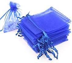 """Dealglad 100pcs Drawstring Organza Jewelry Candy Pouch Party Wedding Favor Gift Bags (4x6"""", Royal Blue)"""