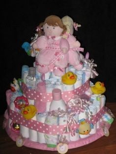 baby girl shower diaper cakes | Photo Gallery - Twin Girls Baby Shower Diaper Cake Photo