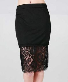 Another great find on #zulily! Black Lace Pencil Skirt #zulilyfinds