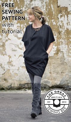 Free sewing pattern for women. Link to the Great British Sewing Bee pattern with tutorial, advice on how to put it together and which fabrics to use. A comfortable and stylish dress with a slight tulip shape that comes in towards the knees. It has integrated pockets and a front pleat at the top from the neckline. Perfect for putting with leggings or thick tights.
