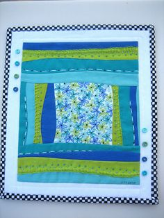 Buttons & Blooms - Mini Art Quilt #4 by mamacjt, via Flickr