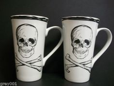 New Set 2 Coventry Skull Crossbones White Latte Coffee Tea 18oz Tall Cup Mugs | eBay