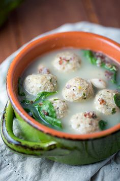 Turkey Meatball Soup with Quinoa and Spinach