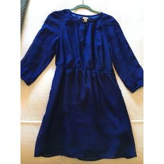 J. Crew Blue Dress Blue dress with synched waist and 3/4 length sleeves. 3 buttons on the top. Great for any occasion. J. Crew Dresses Long Sleeve