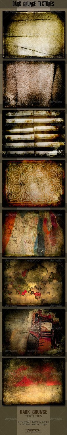 Dark Grunge Textures by TanyDi The package contains 8 dark grunge textures  different subjects and colors with black edges, in print and web format. Grunge textu