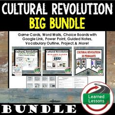 Cultural Revolution BUNDLE VISIT MY STORE AND FOLLOW TO GET UPDATES WHEN NEW RESOURCES ARE ADDED Also Included in World History MEGA BUNDLE Part 2 Cultural Revolution BUNDLE-Cultural Revolution Game Cards (I Have, Who Has)-Cultural Revolution Choice Board Activities (Paper and Google Drive Versions)-Cultural Revolution Pennant Word Wall-Cultural Revolution Guided Notes and PowerPoint, Vocabulary Outlines, & More! (Only Available in BUNDLES)Visit the Links Below to Check Out Additional Res...