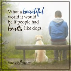 Dogs make the world beautiful What a beautiful world it would be if people had hearts like dogs. — Unknown Author