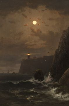 Point Bonita Lighthouse - Frederick Ferdinand Schafer German, Oil on canvas, x cm.