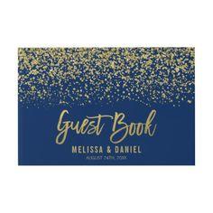 Modern Navy Blue Gold Faux Glitter Wedding Guest Book