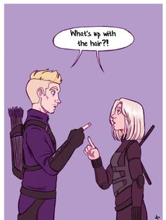"Hawkeye and Black Widow in Avengers Infinity War ""what's up with the hair? Marvel Comics, Marvel Heroes, Marvel Avengers, Quicksilver Marvel, Funny Marvel Memes, Dc Memes, Clintasha, Scarlet, Clint Barton"