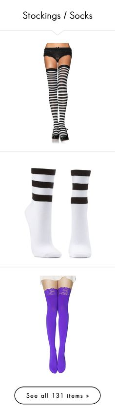 """""""Stockings / Socks"""" by jennross76 ❤ liked on Polyvore featuring intimates, hosiery, tights, black white tights, striped stockings, stripe tights, black white striped stockings, nylon tights, socks en accessories"""