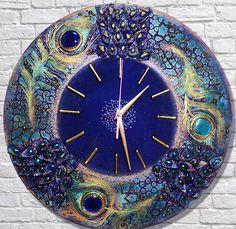 Фото Натальи Полех. Clock Painting, Clock Art, Diy Clock, Clock Decor, Pottery Painting, Decoupage, Handmade Clocks, Wall Watch, Plaster Art