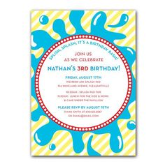 Splash Or Water Themed Party Invitation