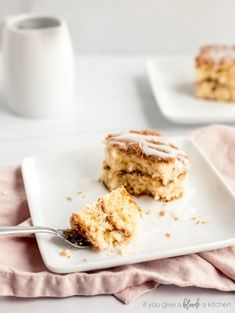 coffee cake square on plate. Fork holding bite of coffee cake Best Brunch Recipes, Best Cake Recipes, Cupcake Recipes, Cupcake Cakes, Snack Recipes, Cupcakes, Streusel Coffee Cake, Sour Cream Coffee Cake, Streusel Topping