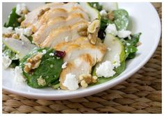 Who knew a chicken salad could be so satisfying in the winter?! Chicken is roasted and served over a spinach with sliced pears, walnuts, cranberries, and feta cheese.