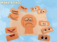 Make a face activities - ELSA Support Emotions for children Emotions Game, Emotions Preschool, Emotions Cards, Emotions Activities, All About Me Activities, Happy Emotions, Preschool Learning Activities, Infant Activities, Vocabulary Flash Cards