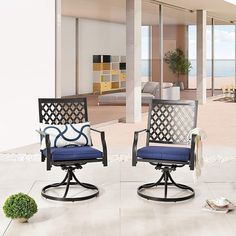 """Patio chairs are the key """"ingredient"""" for the patio space you have. Not only can they add up in terms of decoration, they will also serve as means to a good time with friends and family. With the right pick, you will transform your outside space in visuals and allow yourself some enjoyable relaxing time on your patio. Backyard Furniture, Patio Furniture Sets, Wicker Patio Chairs, Propane Patio Heater, Swivel Rocker Chair, Blue Cushions, Land Scape, Decks, Outdoor Living"""