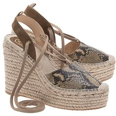 ASH Tracy Bis Desert Wild // Leather wedge espadrilles (390 BGN) ❤ liked on Polyvore featuring shoes, sandals, brown wedge sandals, summer wedge sandals, wedge espadrilles, summer sandals and platform wedge sandals