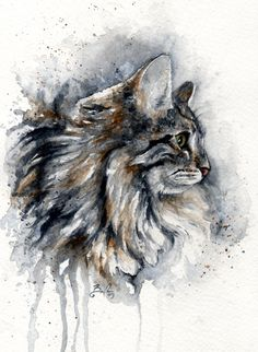 Artist Braden Duncan - Watercolour Cat Drawings - Cat Portrait - ClockWorkArt