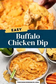 Buffalo Chicken Dip is the ultimate party food! Made with shredded chicken, cream cheese, Mexican cheese blend, Buffalo sauce and ranch dressing, this dip recipe is easy to make. #easydiprecipe #appetizer #gamedaysnacks #buffalochicken Game Day Appetizers, Game Day Snacks, Game Day Food, Buffalo Chicken Dip Recipe, Chicken Dips, Shredded Chicken, Dip Recipes, Sauce Recipes, Appetizer Recipes