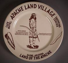 Apache Land Village Cafe Motel - Large Dinner Plate - Globe, Arizona - restaurantware - 1954
