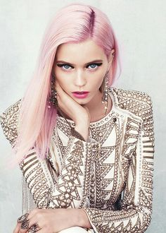 ♡ the pink hair and bold eyeliner...Balmain