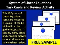 Task Cards - Systems of Linear Equations Sample from Teach With Fergy on TeachersNotebook.com -  (9 pages)  - This 16 System of Linear Equations Task Card resource is unique.  It can be utilized in a clue gathering, puzzle solving, highly active and engaging activity and/or as an alternative to worksheet review for Linear Systems.