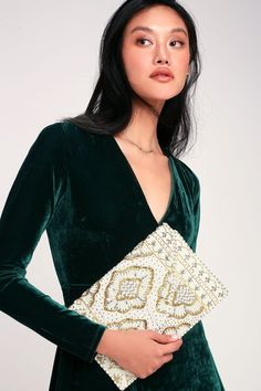 The impression the Etched in Stone Cream Beaded Clutch will leave on your friends is one that will surely last! Unforgettable gold, silver, and ivory beaded patterns. Beaded Clutch, Gold Clutch, Pearl Hair Pins, Rhinestone Headband, Wedding Hair Accessories, Leather And Lace, Beading Patterns, Wedding Hairstyles